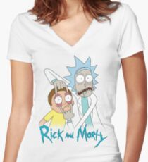 Rick And Morty | Eyes Wide Open Women's Fitted V-Neck T-Shirt