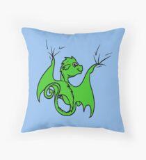 Green Dragon Rider Throw Pillow