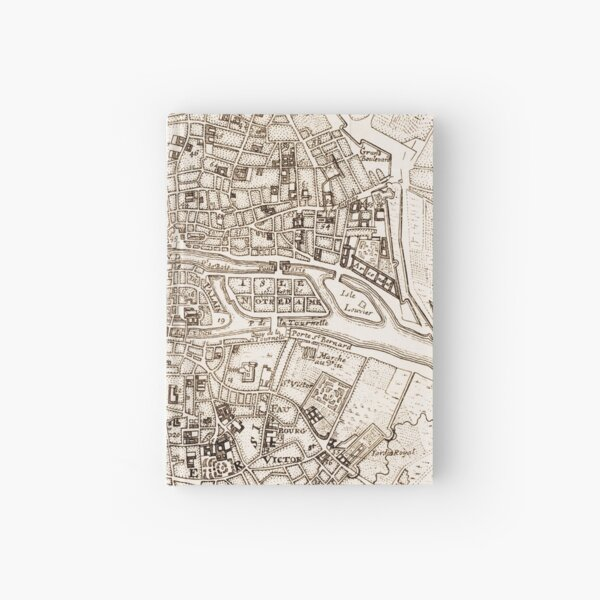 Vintage Map of Paris France (1742) Hardcover Journal