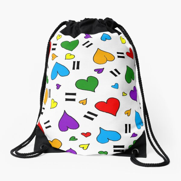 Love is Love Hearts - Rainbow Pride colors Drawstring Bag