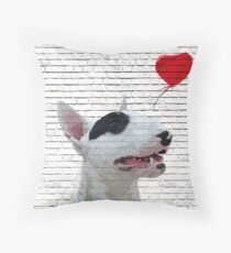 English Bull Terrier Banksy Style Throw Pillow