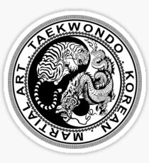 taekwondo beast dragon tiger korean martial art sport kick dark or black shirt  Sticker