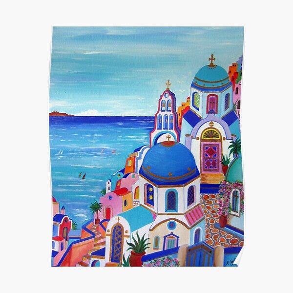 Colorful Oia Santorini Poster