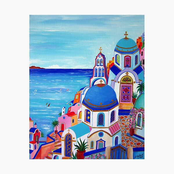 Colorful Oia Santorini Photographic Print