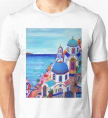 Colorful Oia Santorini Unisex T-Shirt