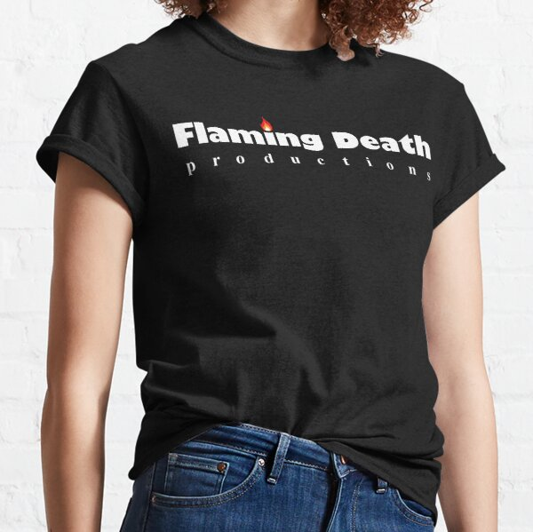 Flaming Death Productions logo (white lettering on transparent background) Classic T-Shirt