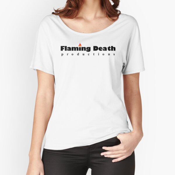 Flaming Death Productions logo (black on white) Relaxed Fit T-Shirt