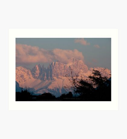 Pretty in Pink: Sunset on the Dolomites Art Print