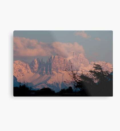 Pretty in Pink: Sunset on the Dolomites Metal Print