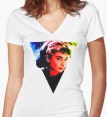 audrey hepburn  Design Women's Fitted V-Neck T-Shirt