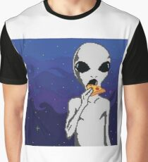 Pixelated Alien Eating a Pizza Graphic T-Shirt