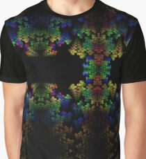 Tetris-like Abstract Black Colorful Rainbow Geometric Pattern Graphic T-Shirt