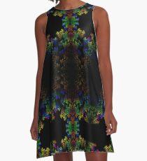 Tetris-like Abstract Black Colorful Rainbow Geometric Pattern A-Line Dress