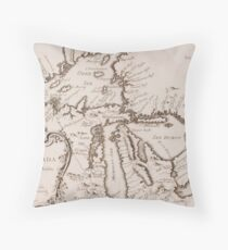 Vintage Map of The Great Lakes (1757) Throw Pillow
