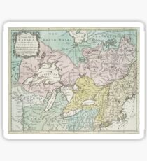 Vintage Map of Great Lakes & Canada (1761) Sticker