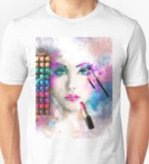 Woman face. fashion illustration. make up,abstract Unisex T-Shirt