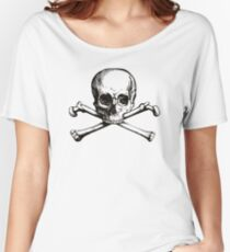 Skull and Crossbones | Black and White Women's Relaxed Fit T-Shirt