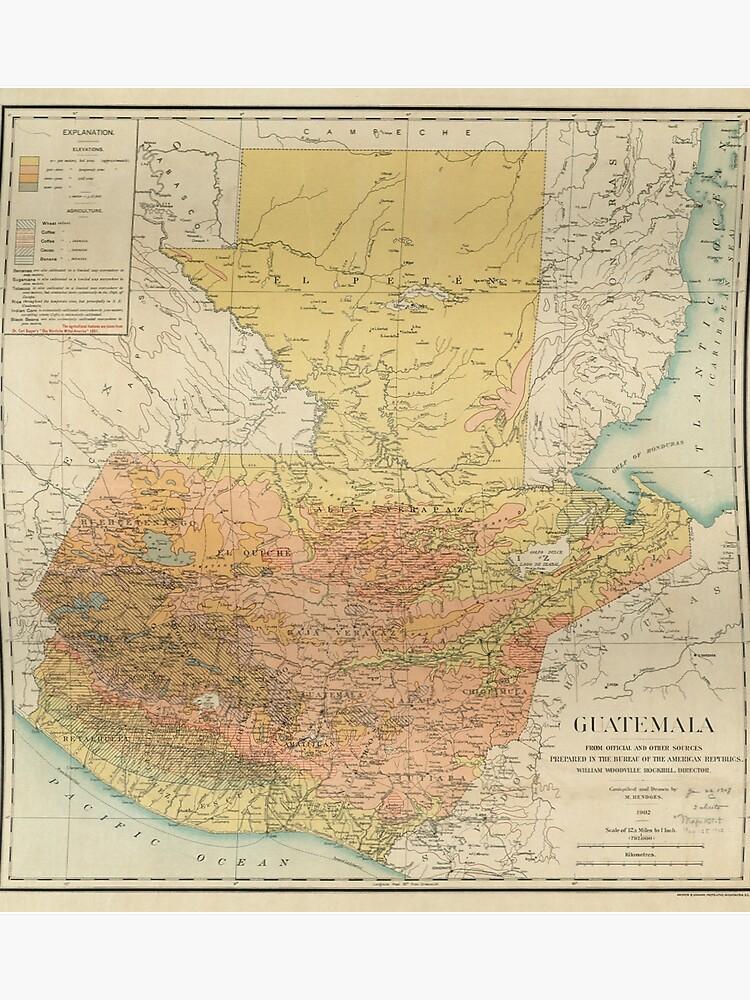 Guatemala Karte.Vintage Karte Von Guatemala 1902 Poster