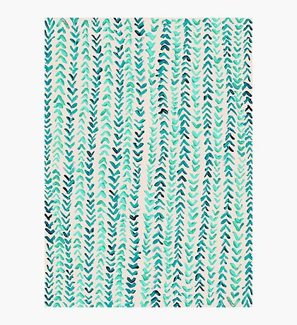 Hand Painted Herringbone Pattern in Mint Photographic Print