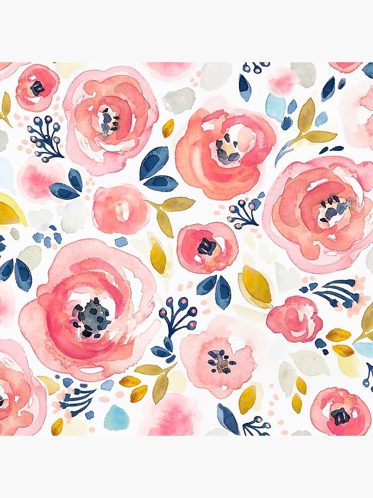 Blush pink watercolor roses by LeanneTalbot