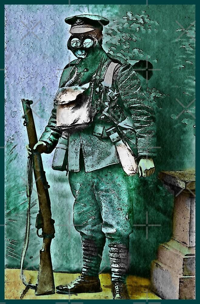 Infantry Soldier in Full Gear Portrait by diane  addis