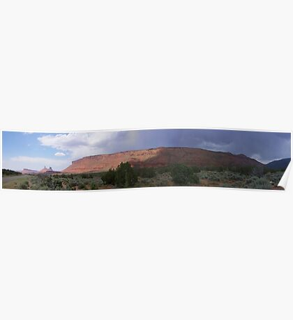 Storm approaching over Adobe Mesa Poster