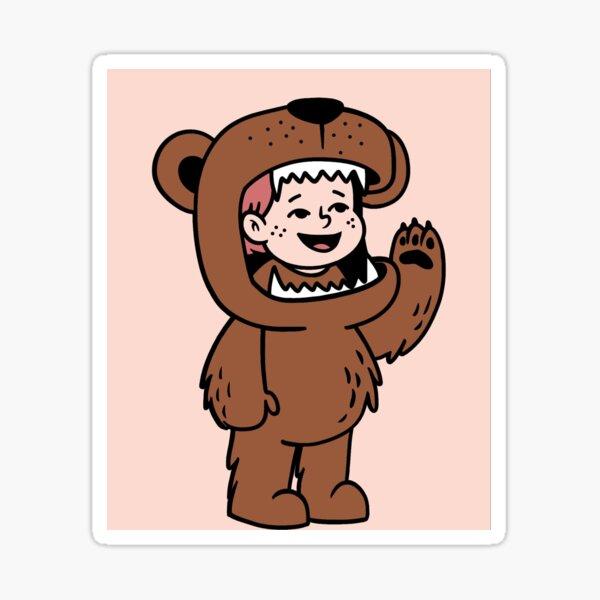 boy in bear Sticker