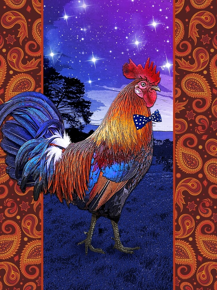 Rooster with a bowtie by feastoffun