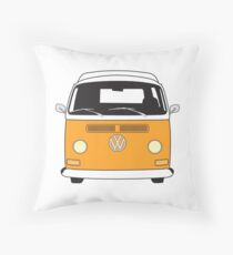 Early Bay VW Camper Front Orange Throw Pillow