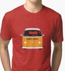 Early Bay VW Camper Front Orange Tri-blend T-Shirt