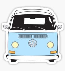 Early Bay VW Camper Front Pale Blue Sticker