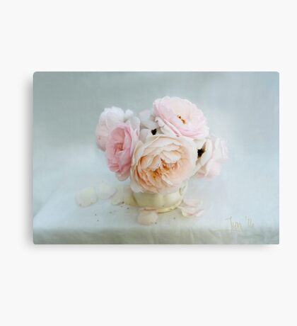 Bouquet of Pastel June Roses Canvas Print