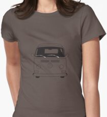 Early Bay VW Camper Line Art Womens Fitted T-Shirt
