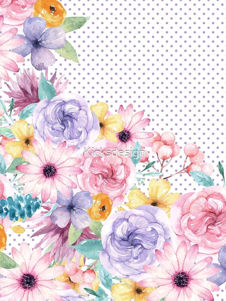 Modern pink lavender watercolor floral polka dots by Kicksdesign