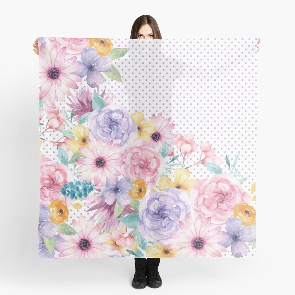 Modern pink lavender watercolor floral polka dots Scarf