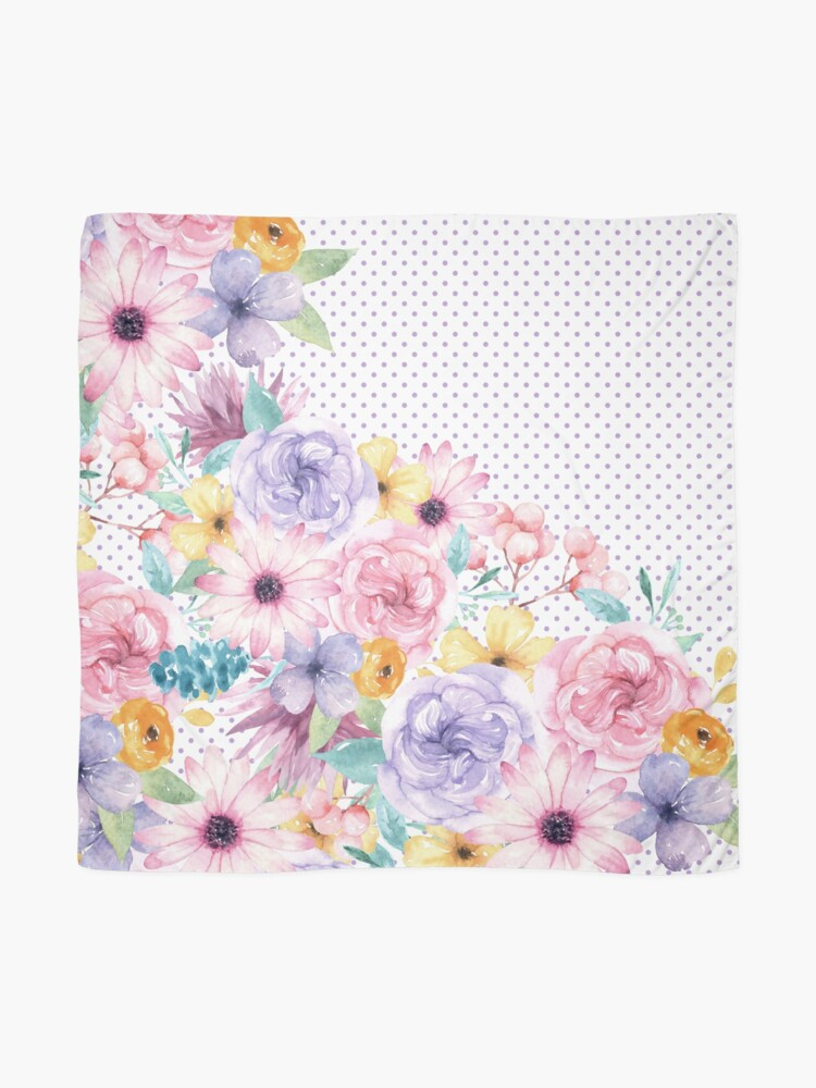Alternate view of Modern pink lavender watercolor floral polka dots Scarf