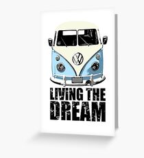 VW Camper Living The Dream Pale Blue Greeting Card