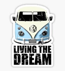 VW Camper Living The Dream Pale Blue Sticker