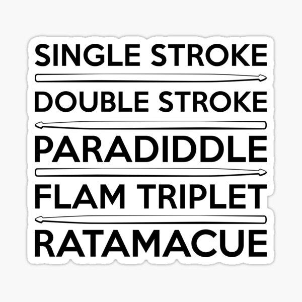 Essential Drum Rudiments with Drumsticks (black text) Sticker