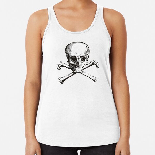 Skull and Crossbones | Jolly Roger | Pirate Flag | Deaths Head | Black and White | Skulls and Skeletons | Vintage Skulls | Racerback Tank Top