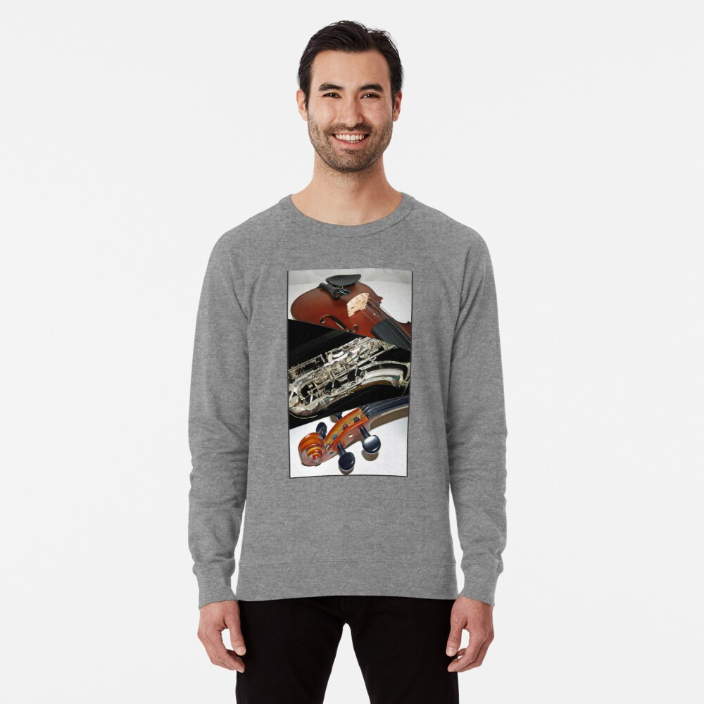 Violin and Saxophone Collage Leichter Pullover