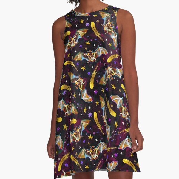 Spooky Bat Pattern with Stars by Robert Phelps A-Line Dress