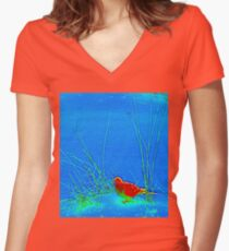 Bird in the Grass Women's Fitted V-Neck T-Shirt