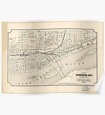 Vintage Map of Harrisburg PA (1877) Poster