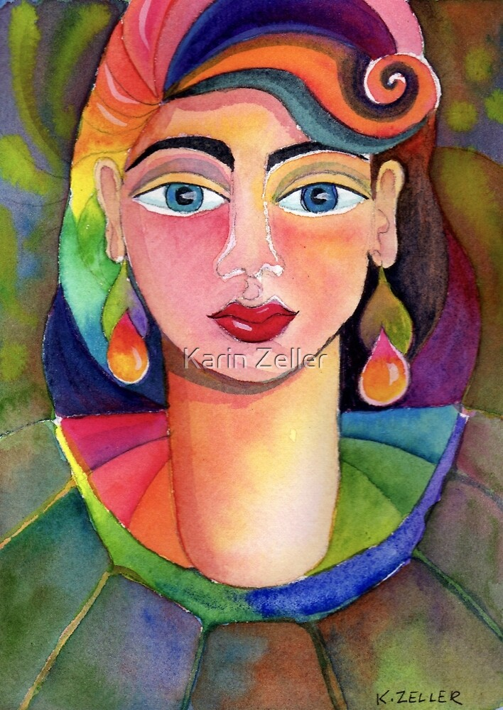 Rainbow girl in watercolour by Karin Zeller
