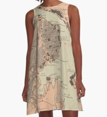 Vintage Map of Havana Cuba (1898) 2 A-Line Dress