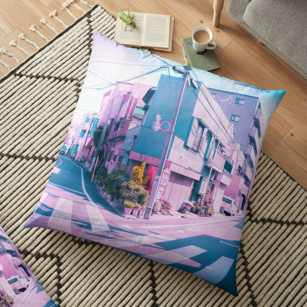 Anime in Real Life Vaporwave Summer Day in Tokyo Residential area  Floor Pillow
