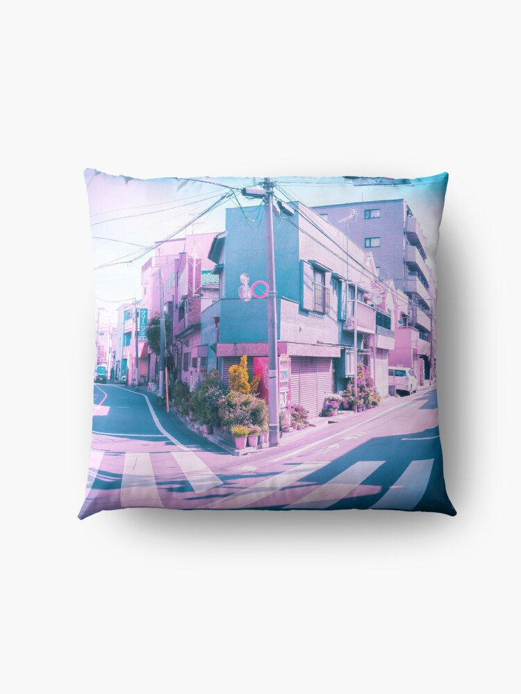 Alternate view of Anime in Real Life Vaporwave Summer Day in Tokyo Residential area  Floor Pillow