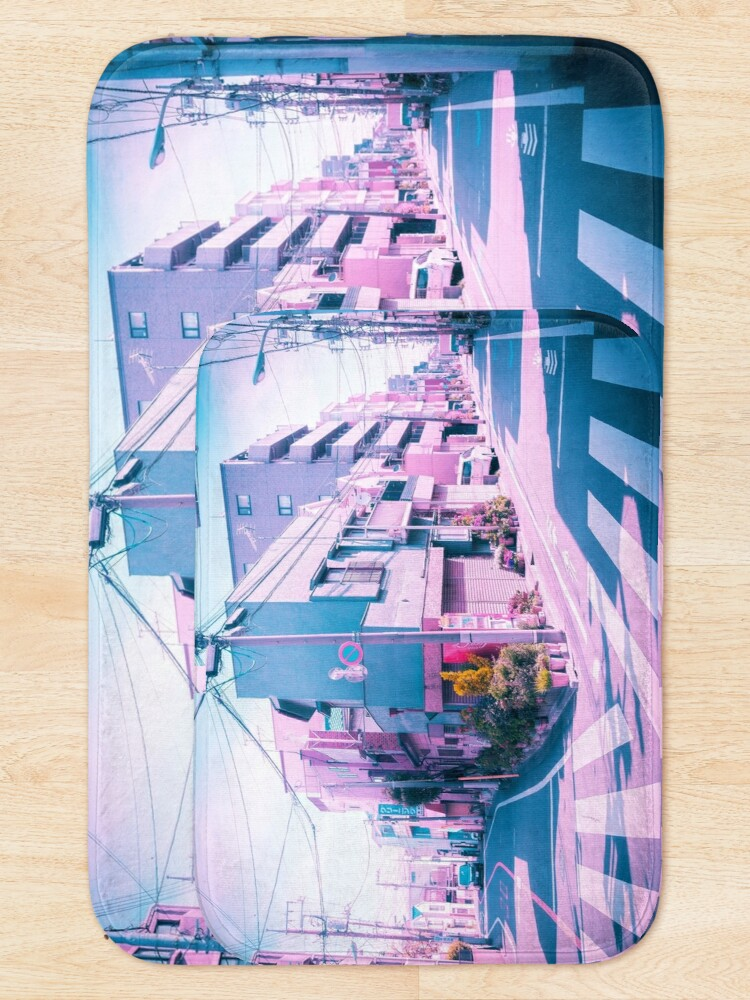 Alternate view of Anime in Real Life Vaporwave Summer Day in Tokyo Residential area  Bath Mat