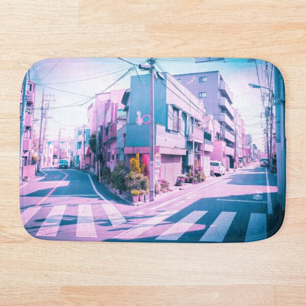 Anime in Real Life Vaporwave Summer Day in Tokyo Residential area  Bath Mat